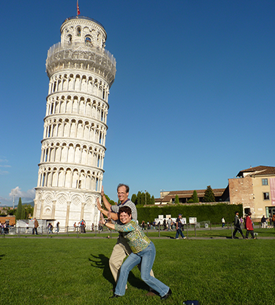Janet and Steve holding up Leaning Tower of Pisa